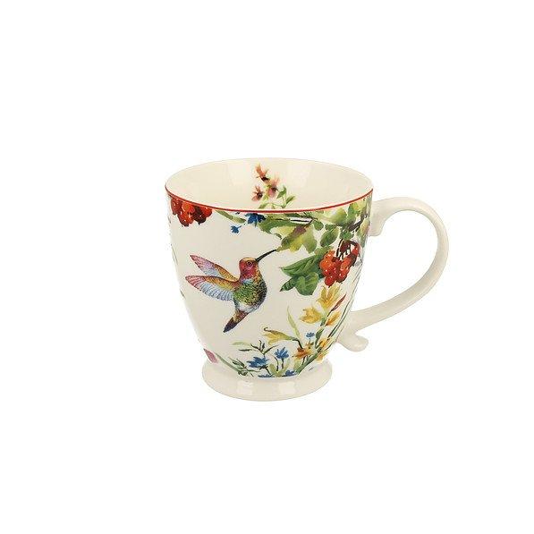 Becher Tasse Porzellan Kaffeebecher Teebecher Vogel Cremefarben Groß 450 ml DUO