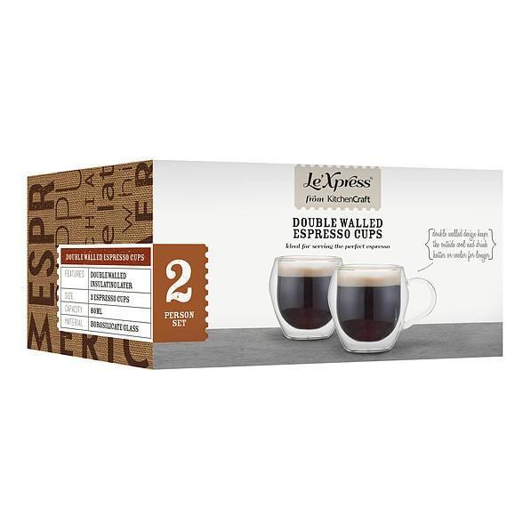 Filiżanki do espresso termiczne szklane KITCHEN CRAFT DRINK 80 ml 2 szt.