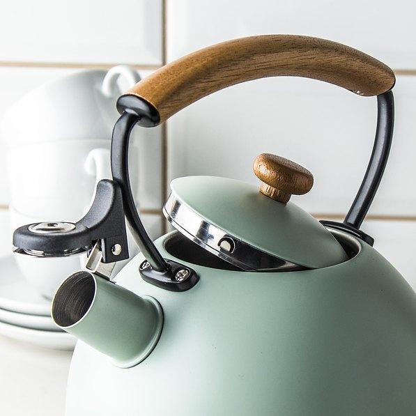 Wasserkessel Induktion Flötenkessel Edelstahl Teekessel Wasserkocher Minze 2,5 l