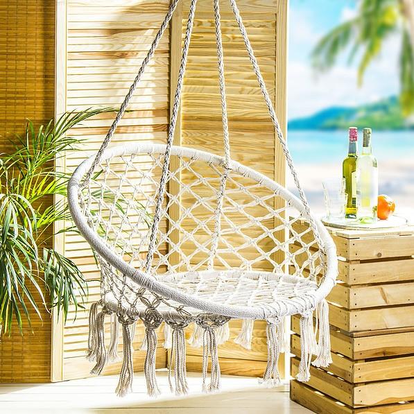 Hamak Krzesło Brazylijskie Podwieszane Bawełniane Bocianie Gniazdo Beżowy