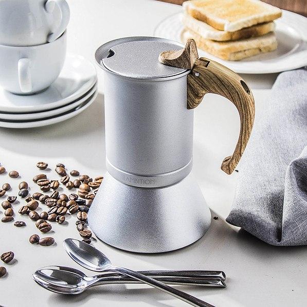 Kawiarka aluminiowa ciśnieniowa AMBITION NORDIC - kafetiera na 3 filiżanki espresso (3 tz)