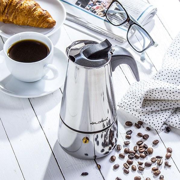 Kawiarka stalowa ciśnieniowa FLORINA LUNGO - kafetiera na 6 filiżanek espresso (6 tz)