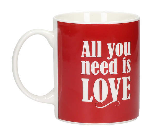 Kubek porcelanowy boss z napisem AMBITION HAPPY ALL YOU NEED IS LOVE 300 ml