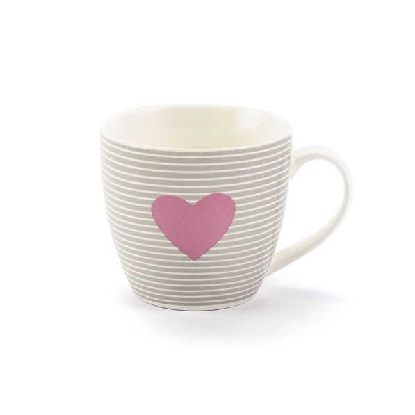 Kubek porcelanowy DUO PINK HEART 460 ml