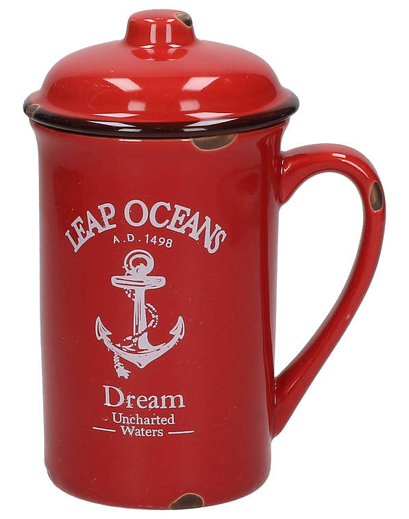 Kubek porcelanowy z pokrywką DREAM LEAP OCEANS RED 400 ml