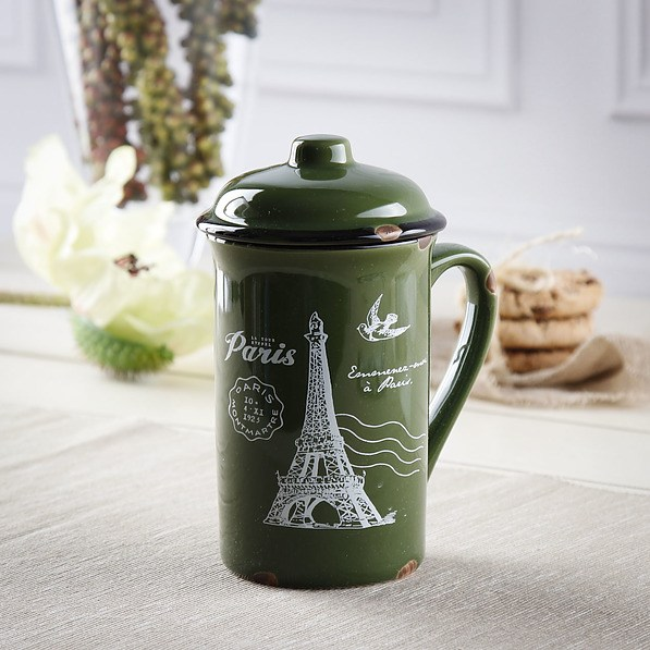 Kubek porcelanowy z pokrywką DREAM PARIS GREEN 400 ml