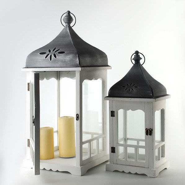 Lampiony Dekoracyjne Drewniane Dennis Białe 2 Szt