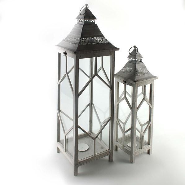 Lampiony Dekoracyjne Drewniane Diana Szare 2 Szt