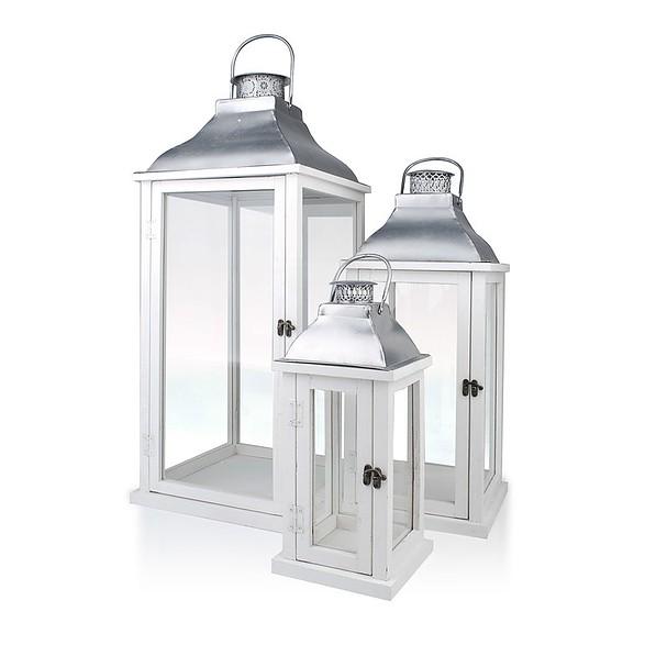 Lampiony Dekoracyjne Drewniane Romantic Białe 3 Szt