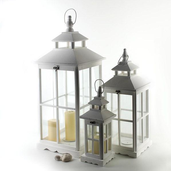 Lampiony Dekoracyjne Drewniane Sara Białe 3 Szt