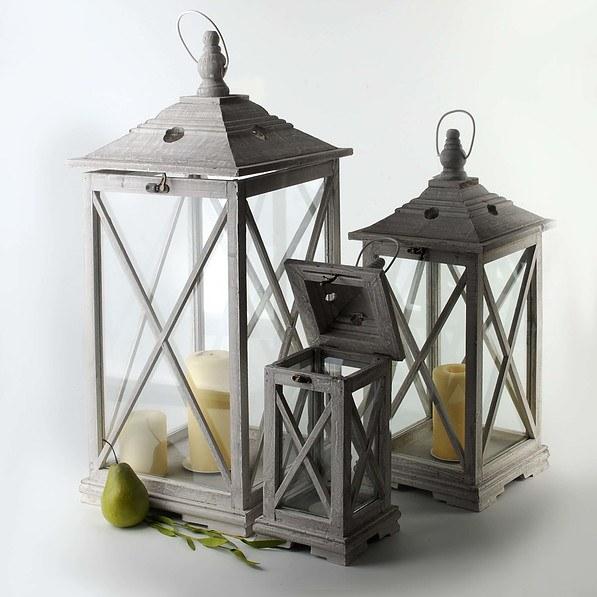 Lampiony Dekoracyjne Drewniane Special Old Lights Szare 3 Szt