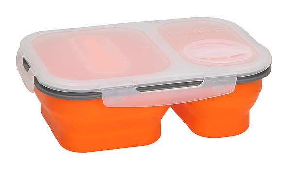 Lunch box silikonowy ze sztućcami ORANGE 1 l