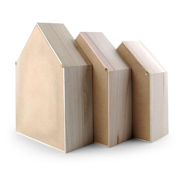 Półki Na ścianę Wiszące Drewniane Domek Monstera 3 Szt