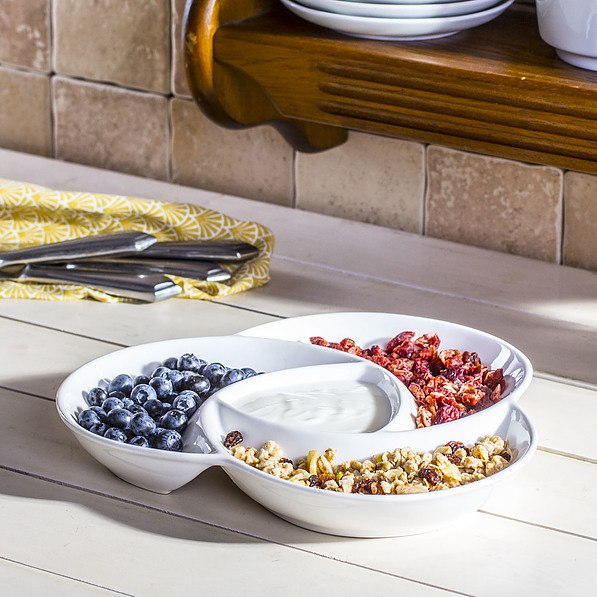 Dipschale Porzellanschale OSLO 4-geteilt 22,5 cm Snackschale White Basics