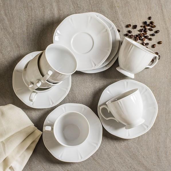 Serwis kawowy porcelanowy CHODZIEŻ MARIAPAULA GEOMETRIA BIAŁY na 6 osób (12 el.)