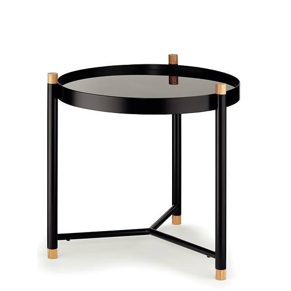 Stolik Kawowy Metalowy Kela Oak Glass Czarny 475 Cm