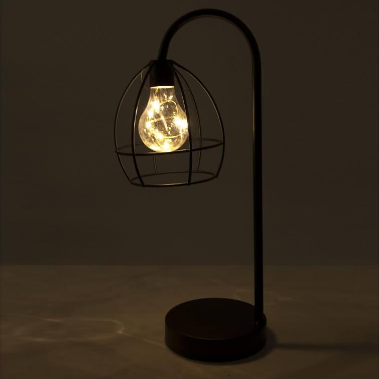 Lampka Nocna Stołowa Led Metalowa Elio Czarna Sklep Internetowy