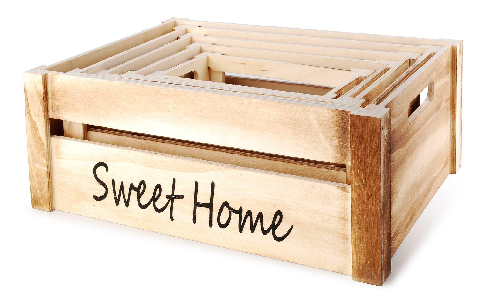 38ce6b8f669dbf Skrzynki drewniane ozdobne SWEET HOME 5 szt. - sklep internetowy -  garneczki.pl