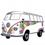 Naklejka na ścianę ozdobna VOLKSWAGEN COLLECTION BY BRISA BUS FLOWER POWER BIAŁA