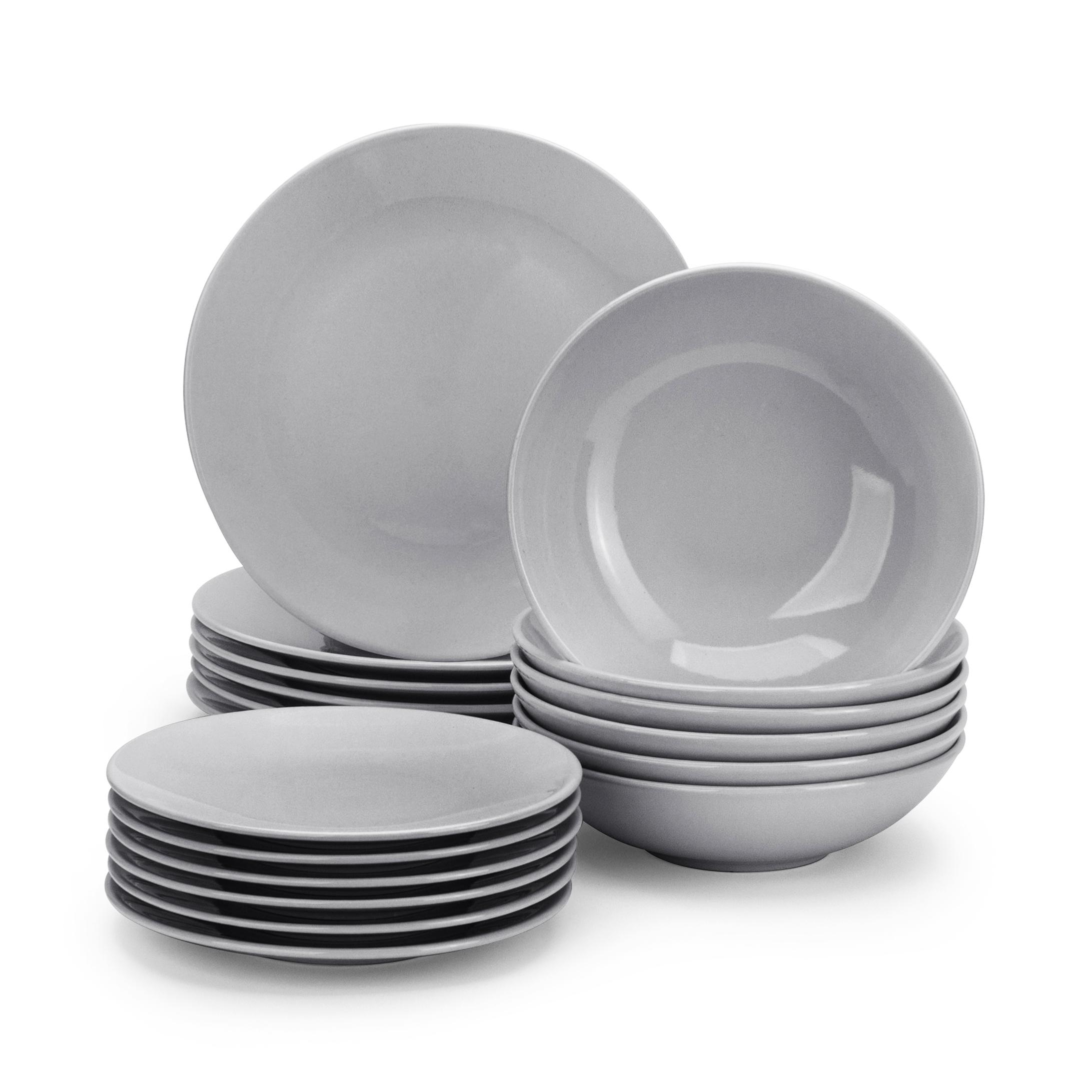 Tafelservice 6 Personen 18 Tlg Keramik Geschirr Set Kombiservice Grau Modern