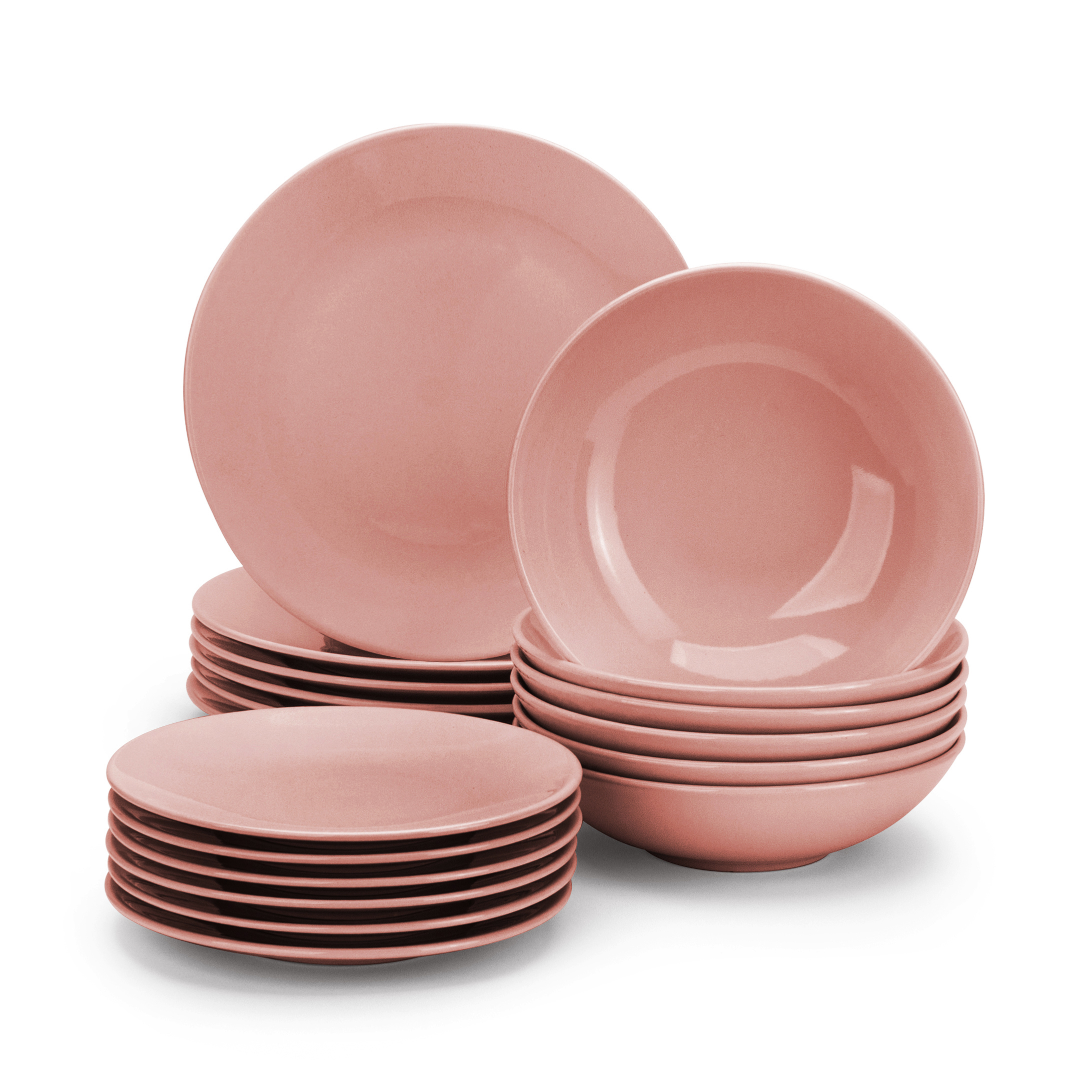 tafelservice 6 personen 18 tlg keramik geschirr set kombiservice rosa modern ebay. Black Bedroom Furniture Sets. Home Design Ideas