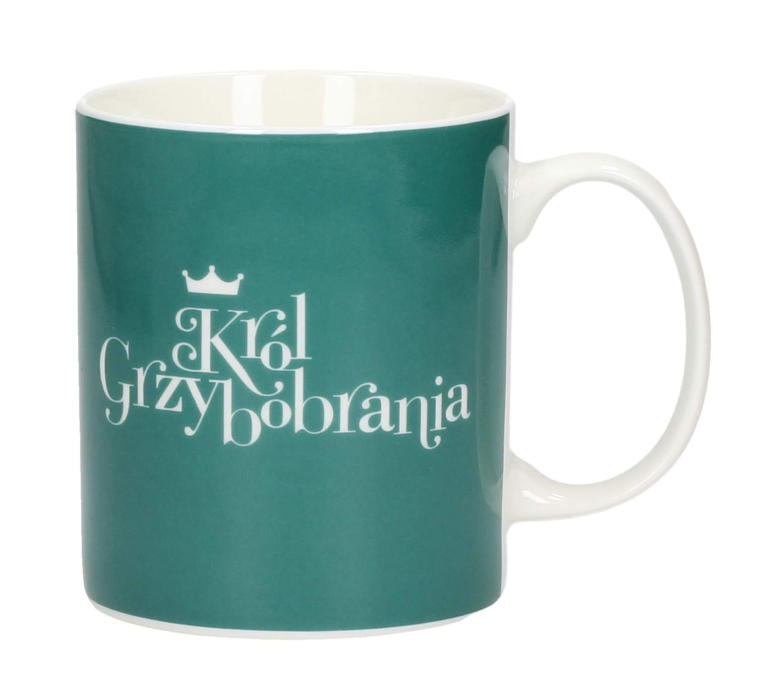 Kubek porcelanowy boss z napisem AMBITION HAPPY KRÓL GRZYBOBRANIA 300 ml