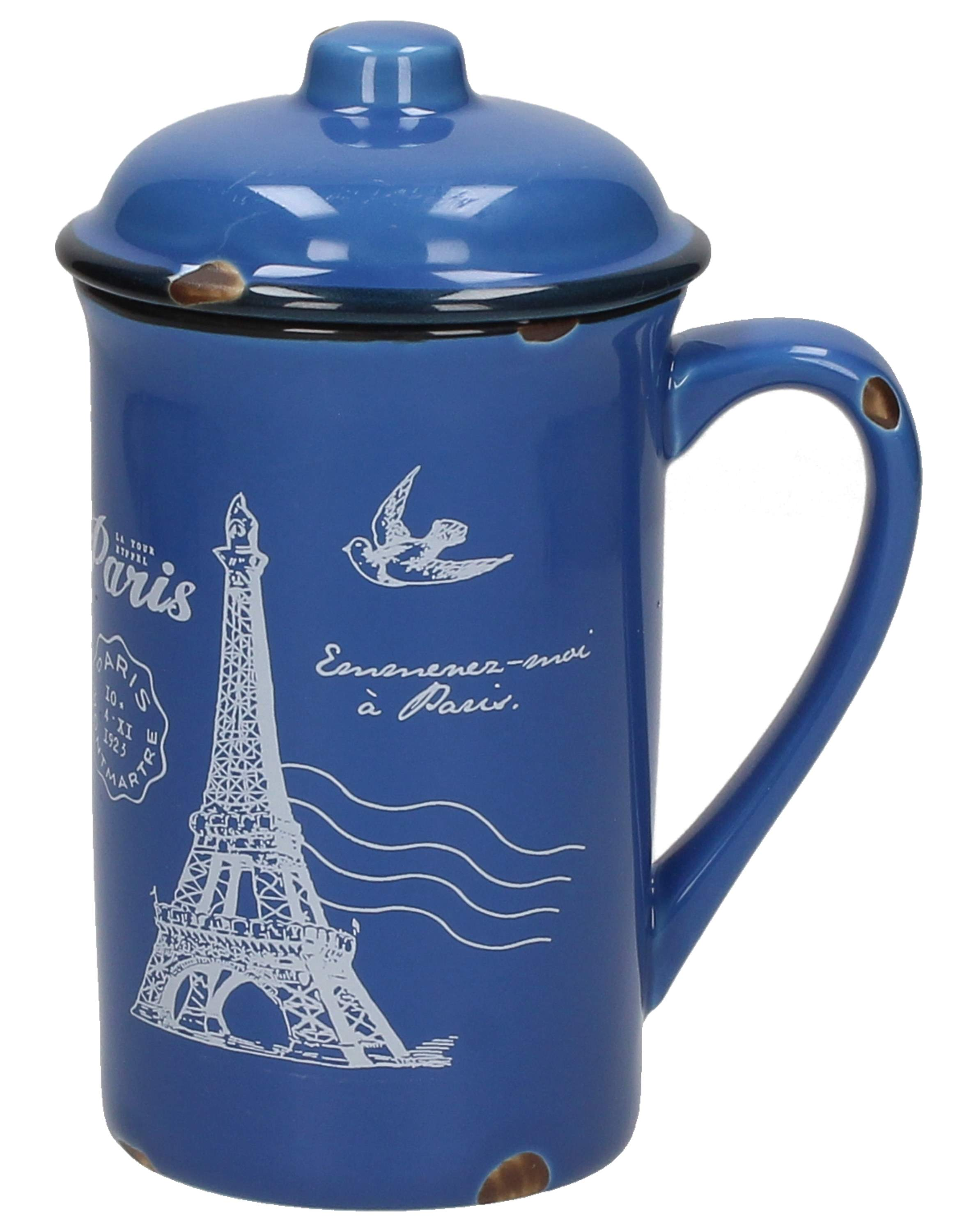 Kubek porcelanowy z pokrywką DREAM PARIS BLUE 400 ml
