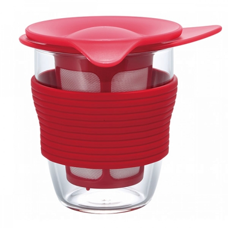 Kubek z zaparzaczem szklany HARIO HANDY TEA MAKER RED 200 ml