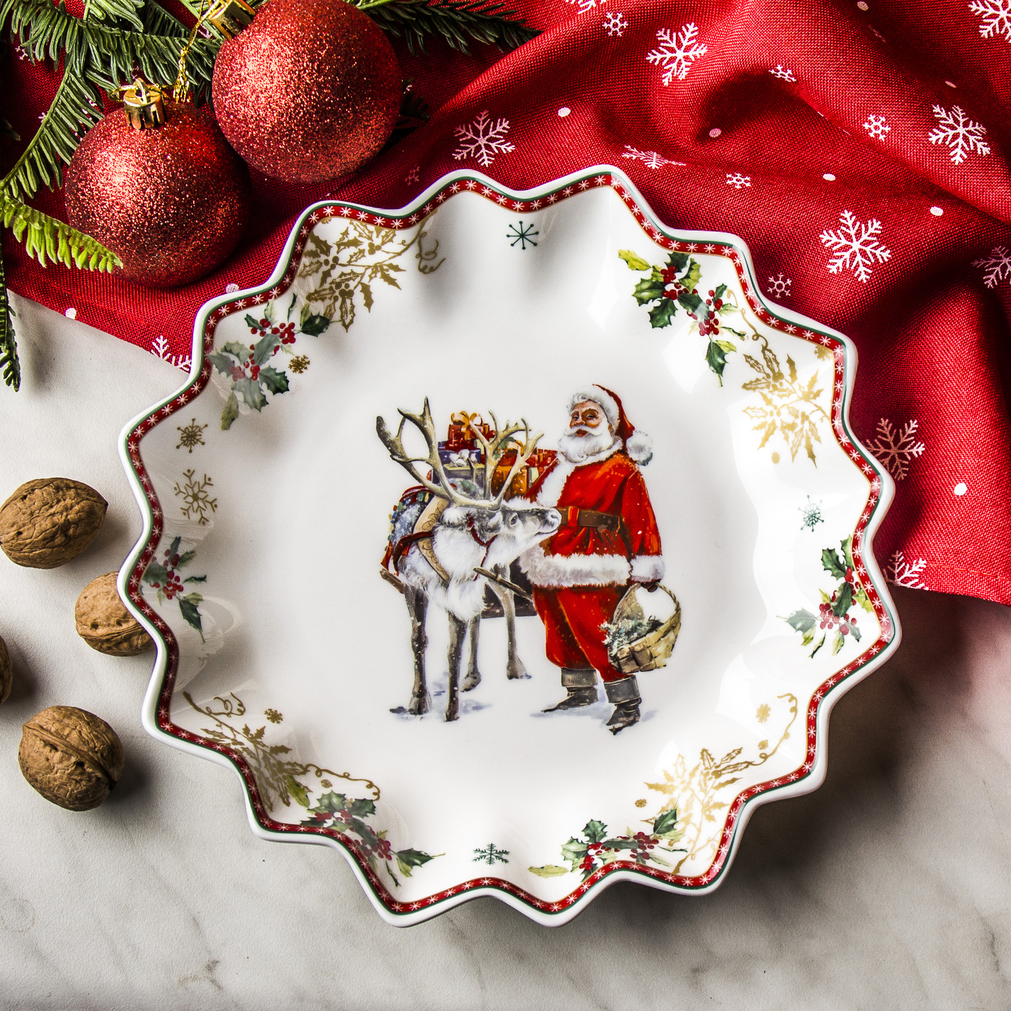 Półmisek porcelanowy MAGIC CHRISTMAS FLOWER BIAŁY 23,5 cm