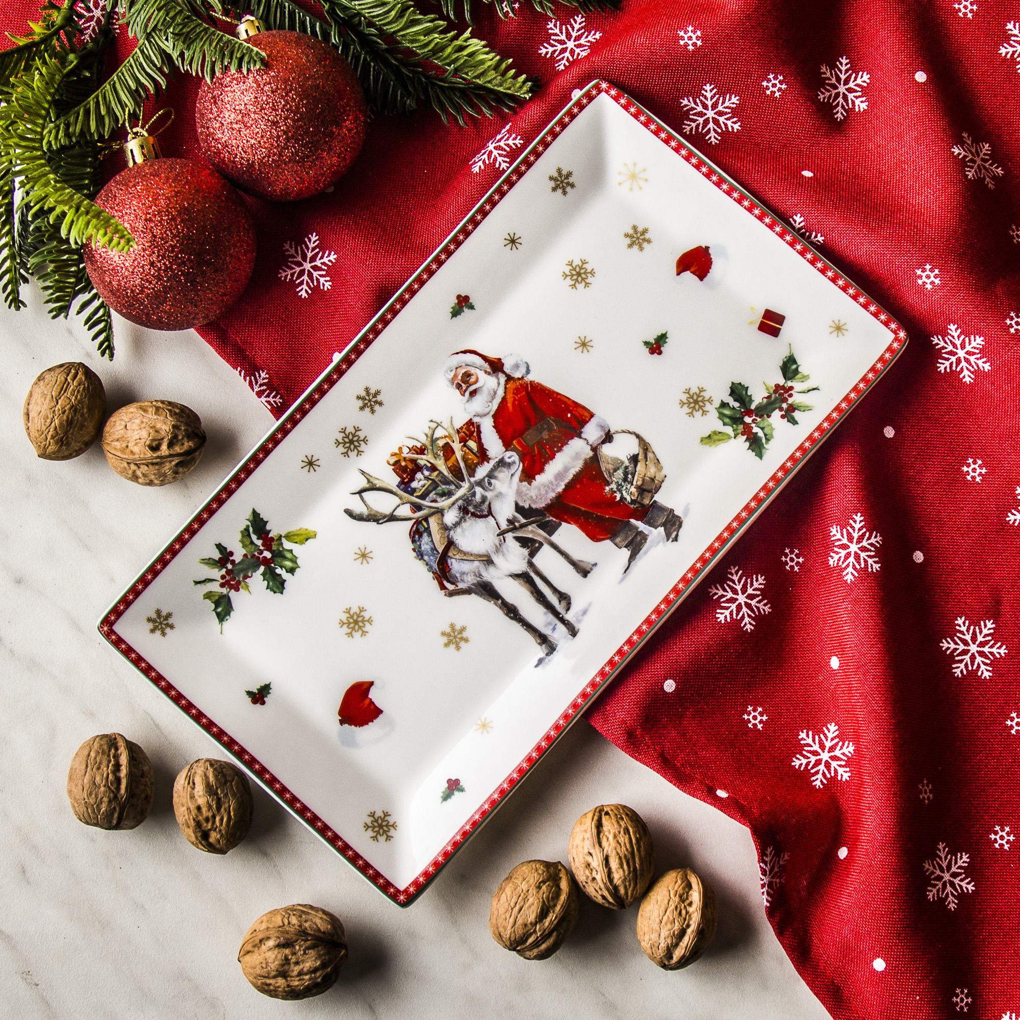 Półmisek porcelanowy MAGIC CHRISTMAS SERVE BIAŁY 25,5 x 14 cm