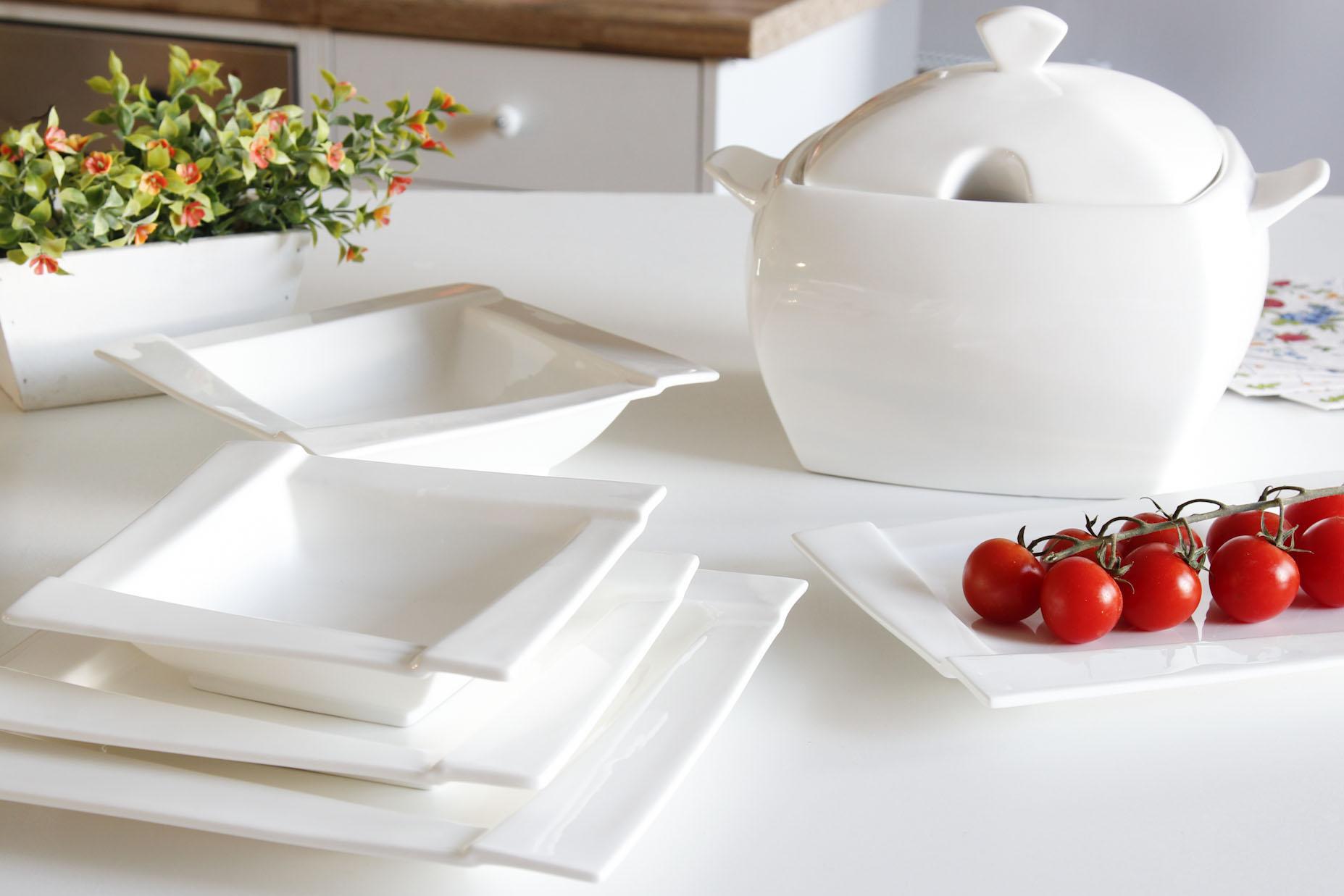 Serwis Obiadowy Porcelanowy Ambition Kubiko Biały Na 12 Osób 42 El