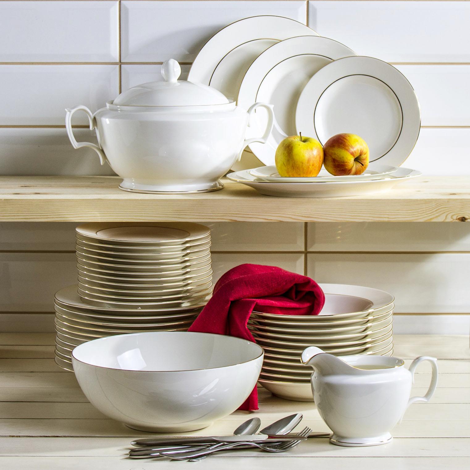 tafelservice 12 personen 41 tlg porzellan geschirr set kombiservice ecru ebay. Black Bedroom Furniture Sets. Home Design Ideas