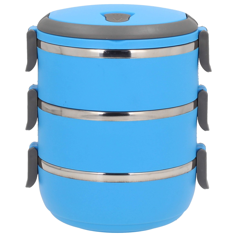 Trojak   Lunch box trzykomorowy plastikowy NIEBIESKI 2 7b3b53feb37